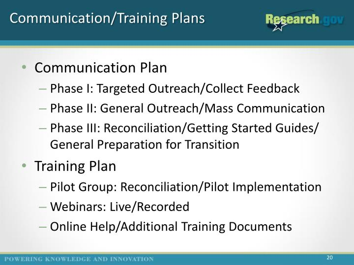 Communication/Training Plans