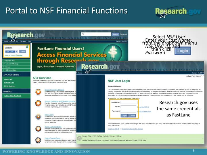 Portal to NSF Financial Functions