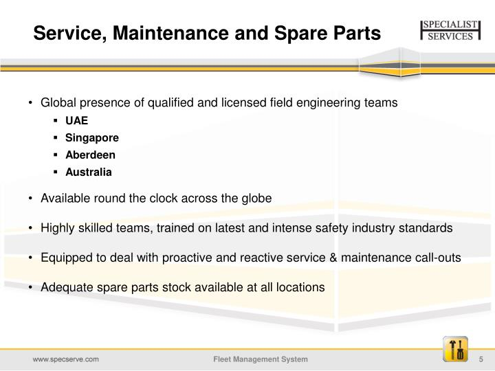 Service, Maintenance and Spare Parts