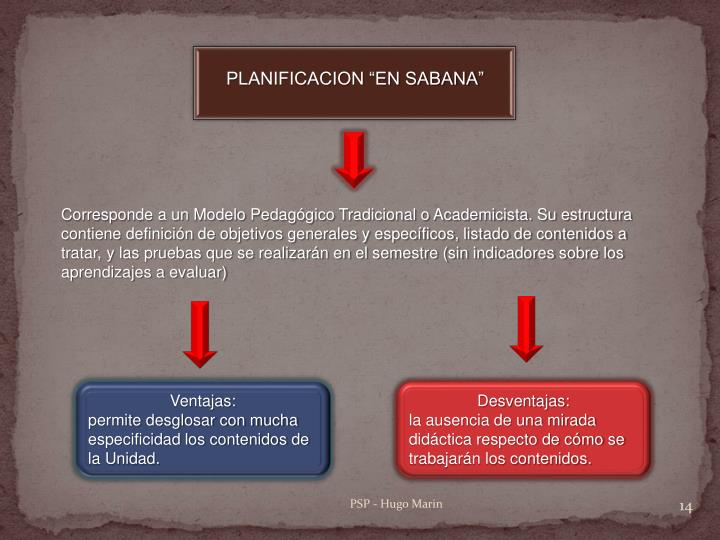 "PLANIFICACION ""EN SABANA"""