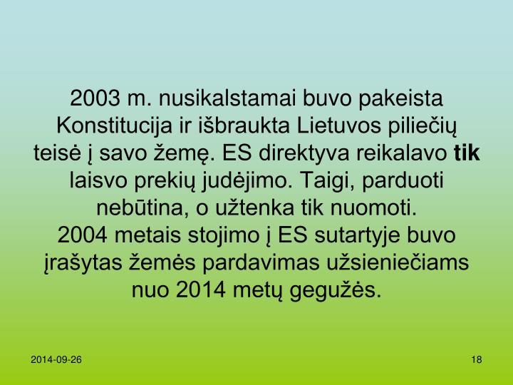 2003 m. nusikalstamai buvo pakeista Konstitucija ir išbraukta Lietuvos piliečių teisė į savo žemę. ES direktyva reikalavo