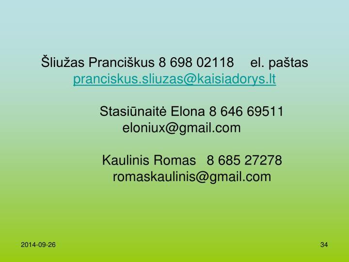 Šliužas Pranciškus 8 698 02118 el. paštas