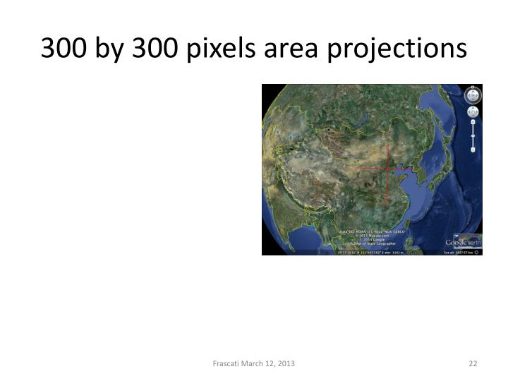 300 by 300 pixels area projections