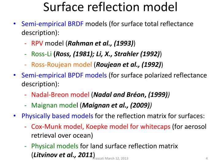 Surface reflection model