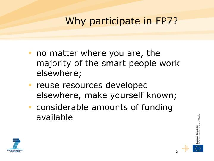 Why participate in FP7?