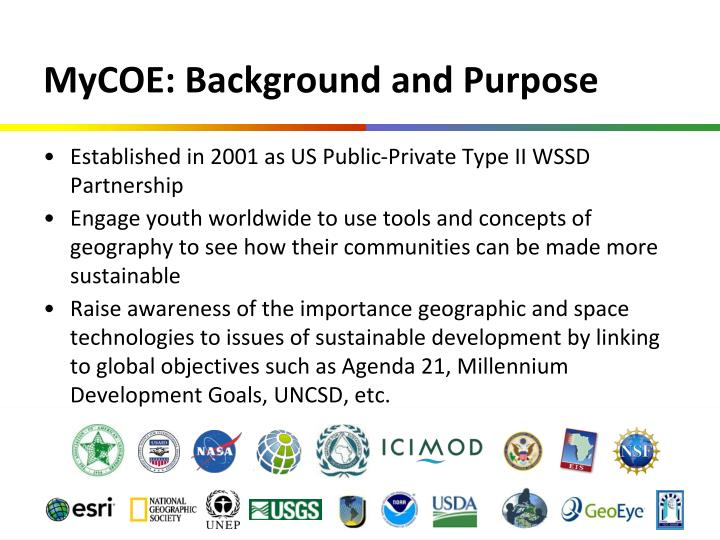 MyCOE: Background and Purpose