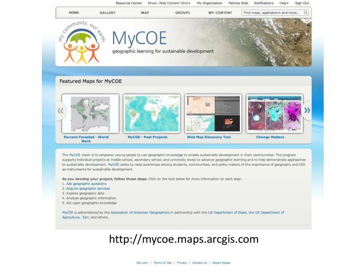 http://mycoe.maps.arcgis.com