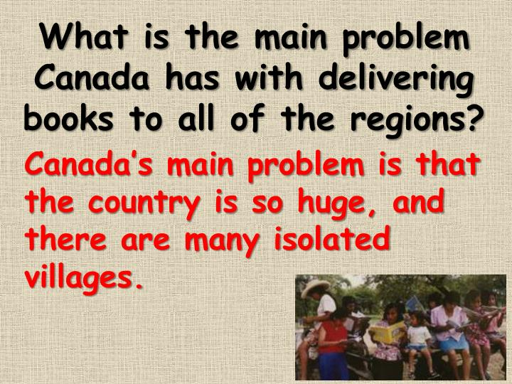What is the main problem Canada has with delivering books to all of the regions?