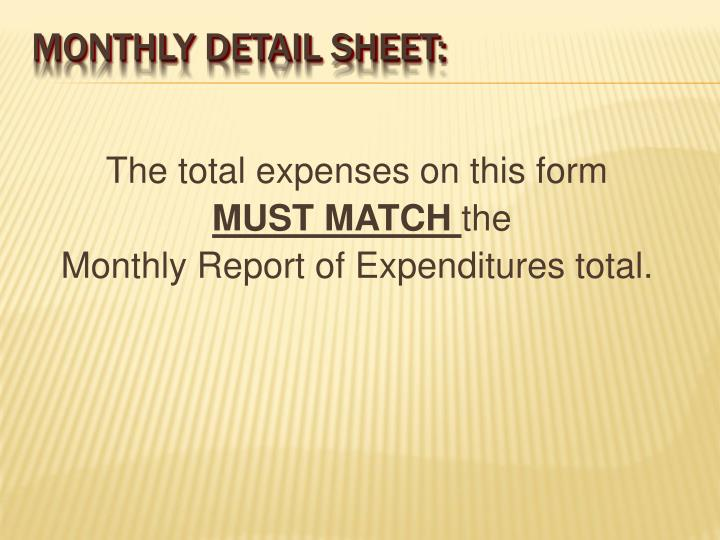 The total expenses on this form