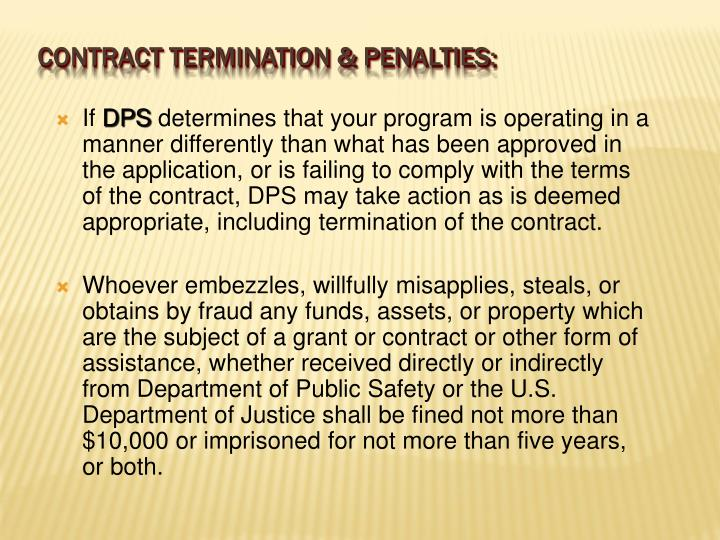 CONTRACT TERMINATION & Penalties: