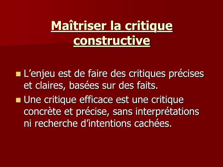 Maîtriser la critique constructive