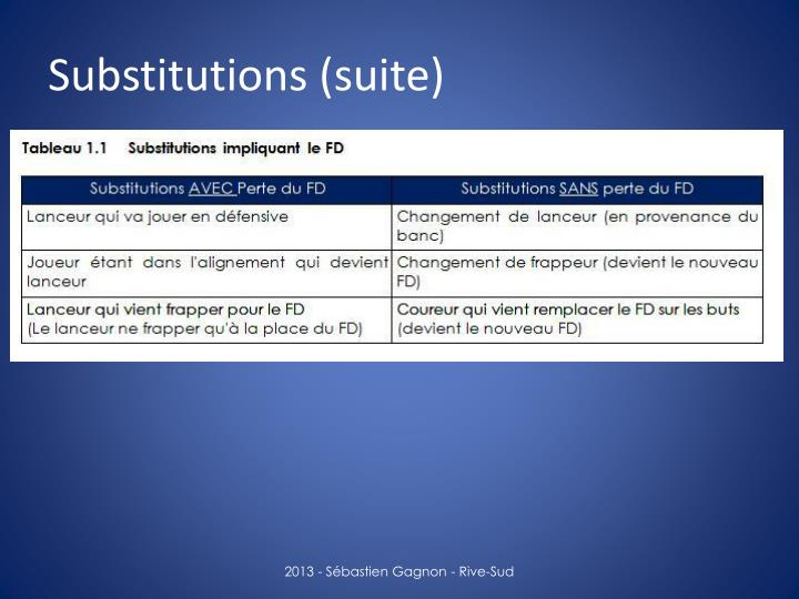 Substitutions (suite)