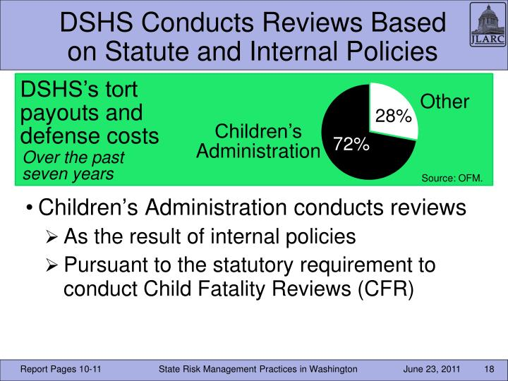 DSHS Conducts Reviews Based