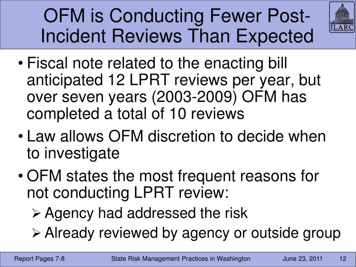 OFM is Conducting Fewer Post-Incident Reviews Than Expected