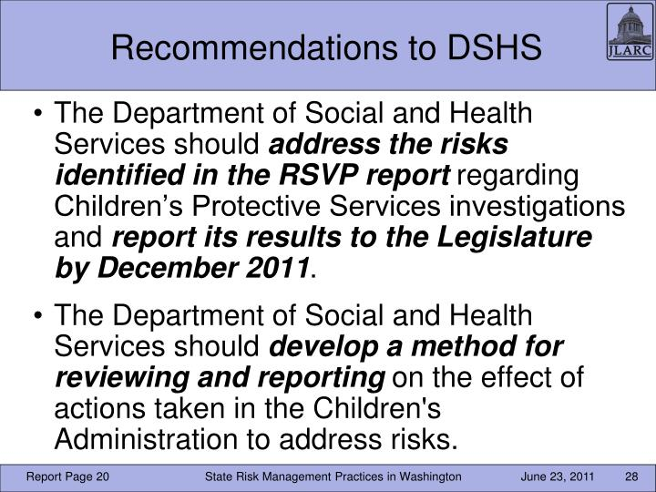 Recommendations to DSHS