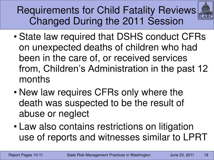 Requirements for Child Fatality Reviews Changed During the 2011 Session