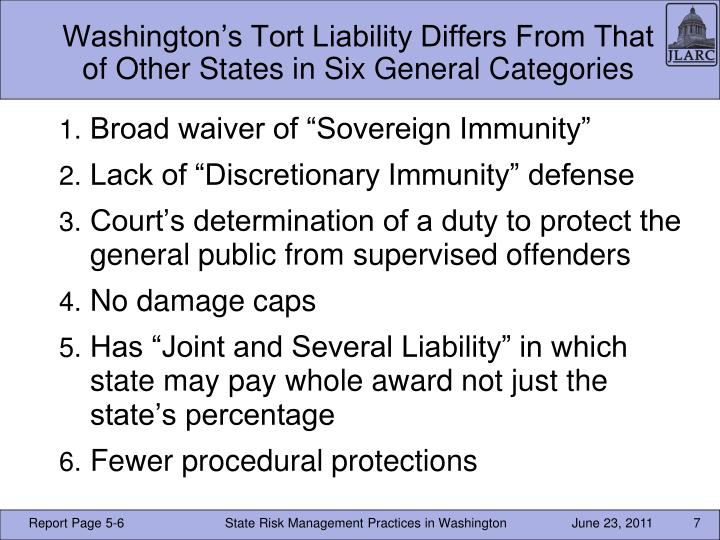 Washington's Tort Liability Differs From That