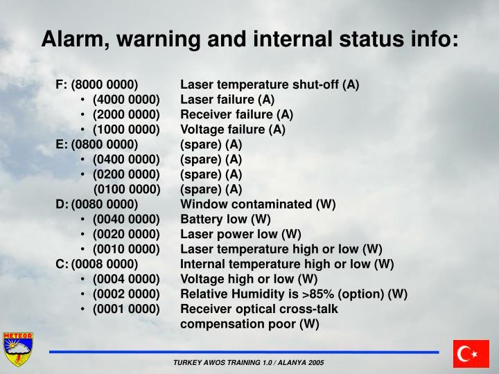 Alarm, warning and internal status info: