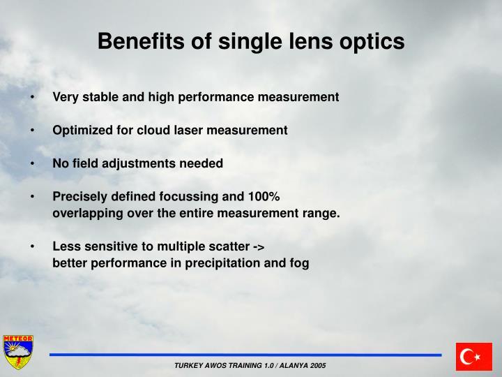 Benefits of single lens optics