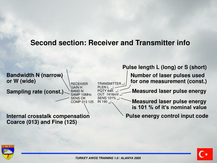 Second section: Receiver and Transmitter info