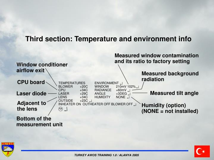 Third section: Temperature and environment info