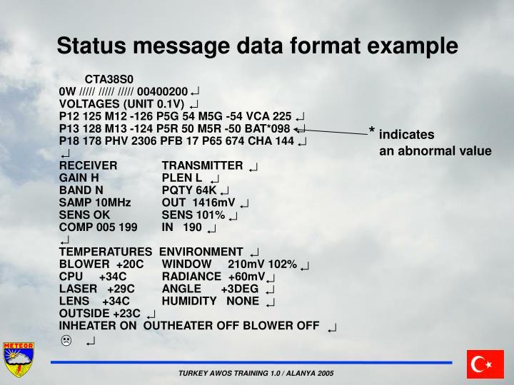 Status message data format example