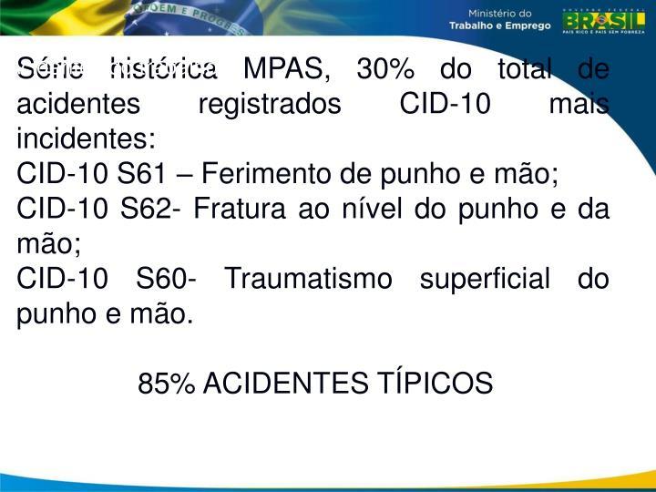 Série histórica MPAS, 30% do total de acidentes registrados CID-10 mais incidentes: