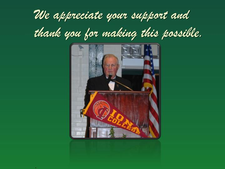 We appreciate your support and