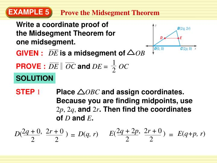 Write a coordinate proof of the Midsegment Theorem for one midsegment.
