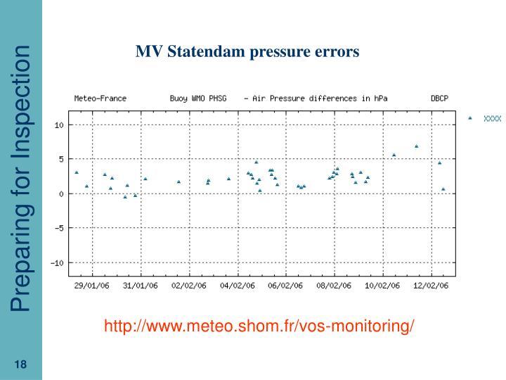 MV Statendam pressure errors