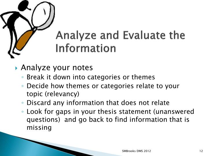 5.Analyze and Evaluate the inInformation