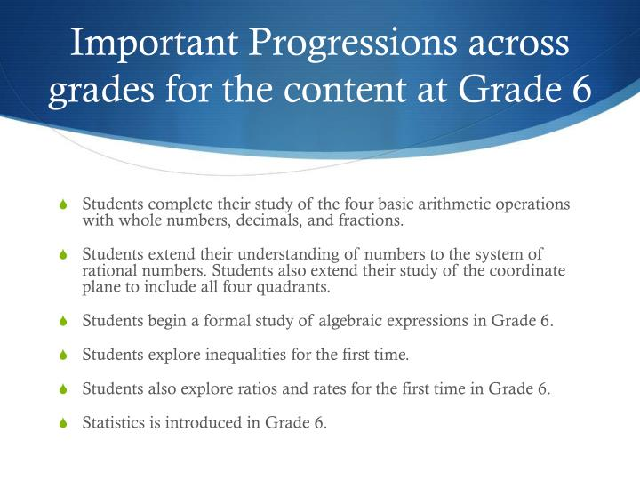 Important Progressions across grades for the content at Grade 6