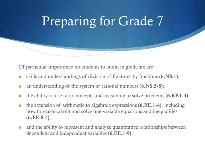 Preparing for Grade 7