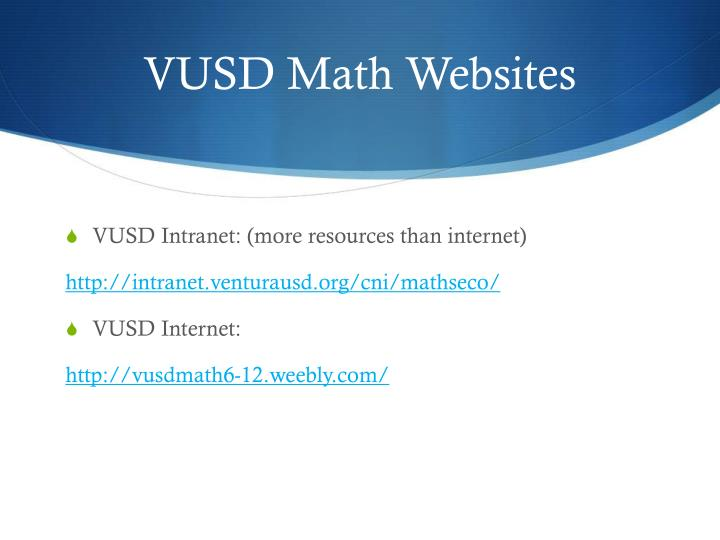 VUSD Math Websites