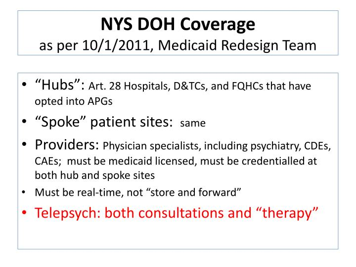 NYS DOH Coverage