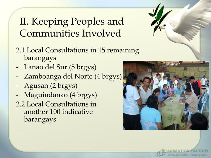 II. Keeping Peoples and Communities Involved
