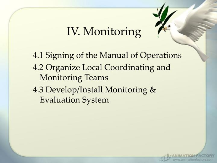 IV. Monitoring