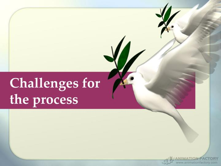Challenges for the process