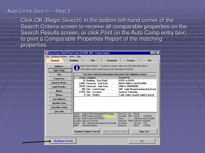 Auto Comp Search—Step 3