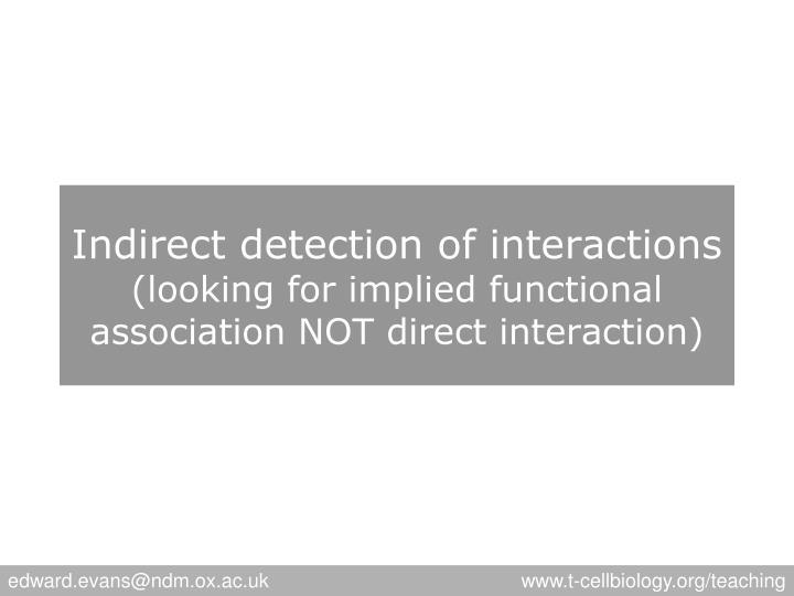 Indirect detection of interactions