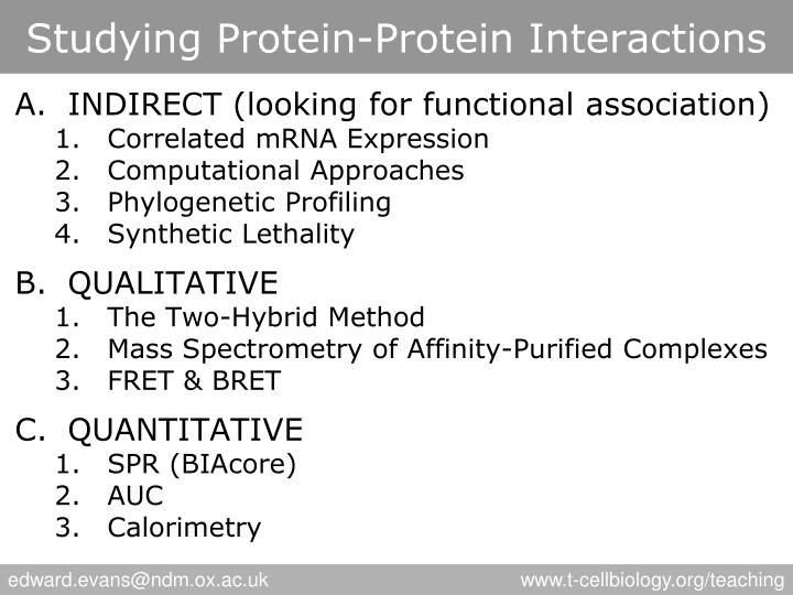 Studying protein protein interactions