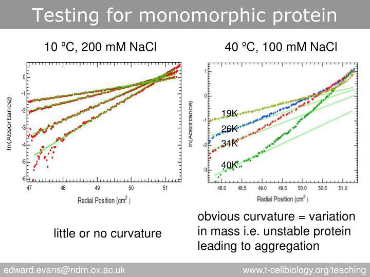 Testing for monomorphic protein