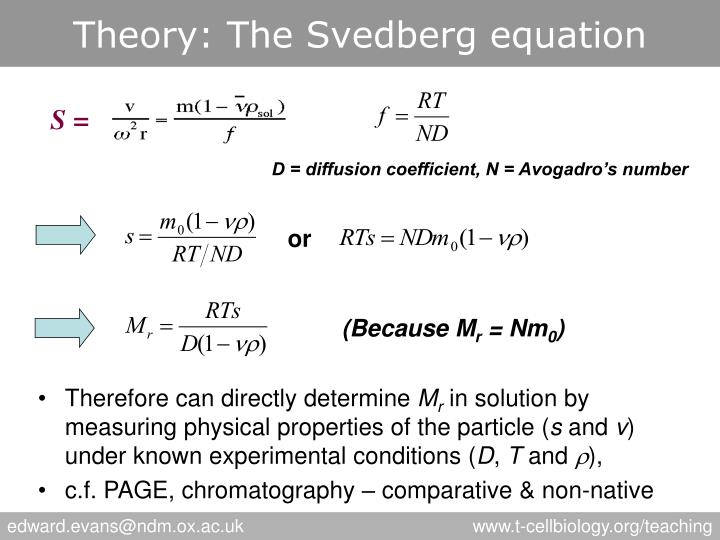 Theory: The Svedberg equation