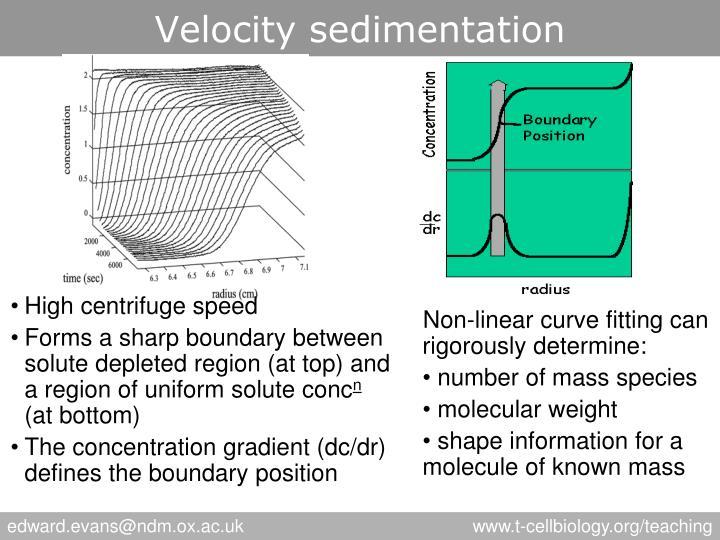 Velocity sedimentation