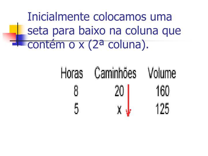 Inicialmente colocamos uma seta para baixo na coluna que contém o x (2ª coluna).