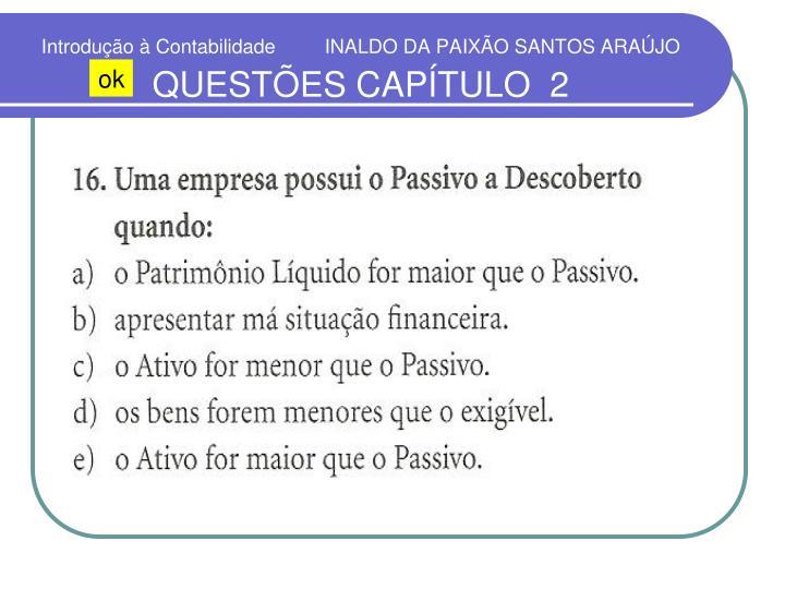 Introdução à Contabilidade         INALDO DA PAIXÃO SANTOS ARAÚJO