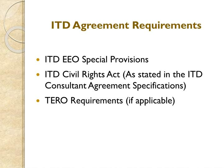 ITD Agreement Requirements