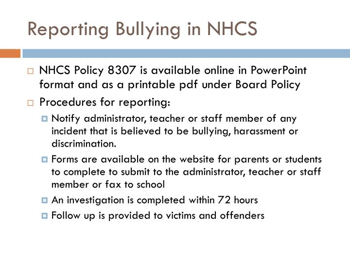 Reporting Bullying in NHCS