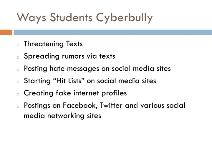 Ways Students Cyberbully