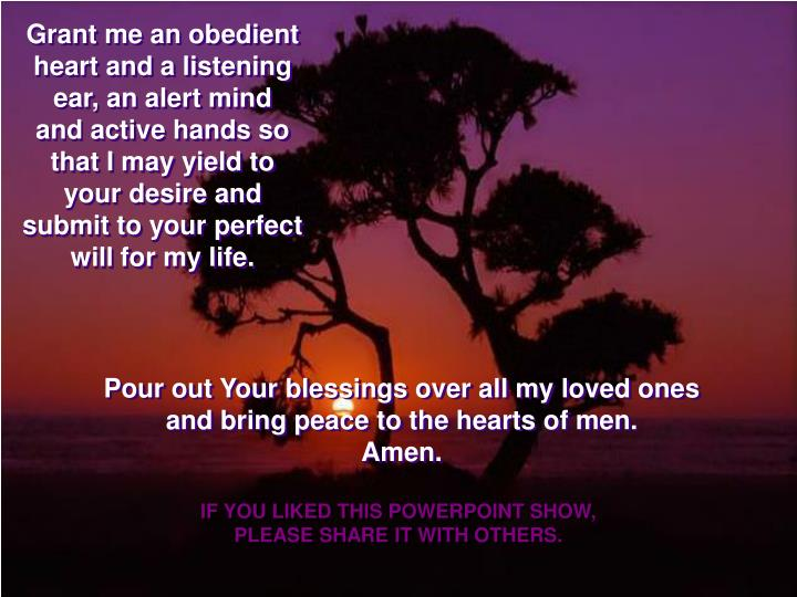 Grant me an obedient heart and a listening ear, an alert mind